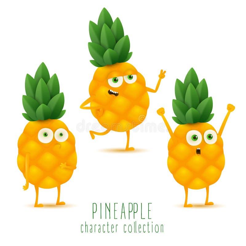 Śliczny wektorowy ustawiający ananasowy owocowy charakter w różnej akcji emocji odizolowywającej na białym tle ilustracji