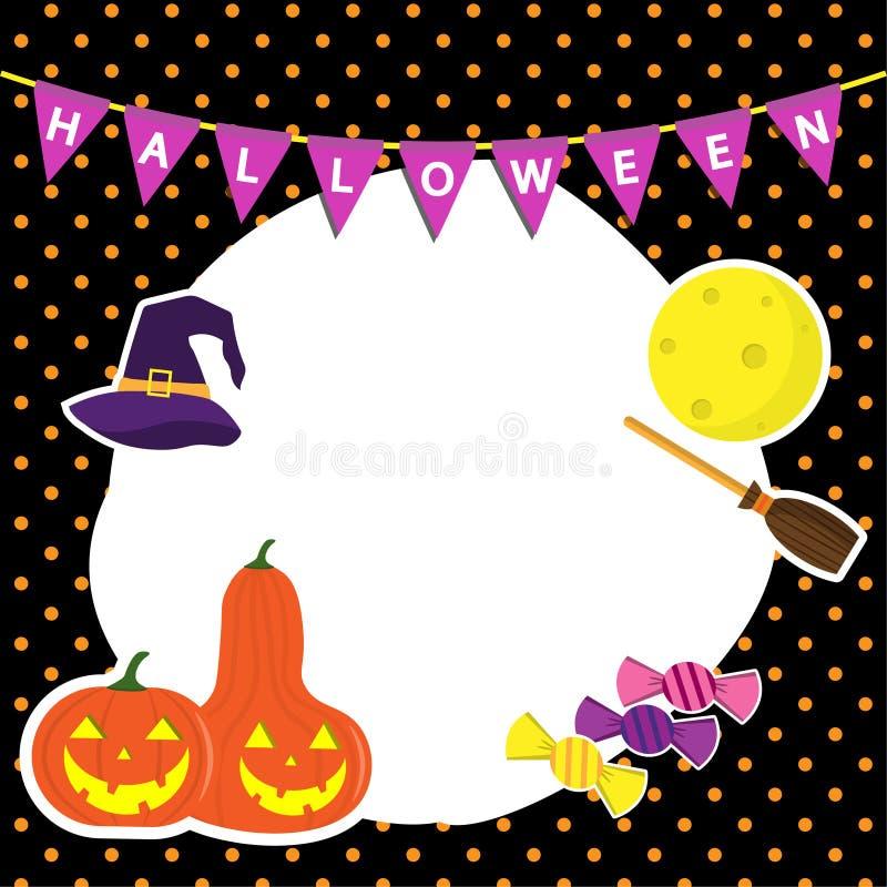 Śliczny wektorowy ustawiający z Ramowymi Halloweenowymi ilustracjami bani, czarownica kapeluszu, księżyc, cukierku, ikon i projek royalty ilustracja