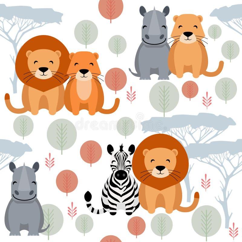 Śliczny wektorowy zwierzęcy bezszwowy wzór z lwem, nosorożec, zebra ilustracji