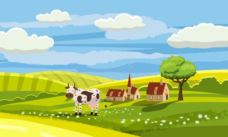 Śliczny wiejski krajobraz z gospodarstwem rolnym, krowa, kwiaty, wzgórza, wioska, kreskówka styl, wektor, odizolowywający ilustracji