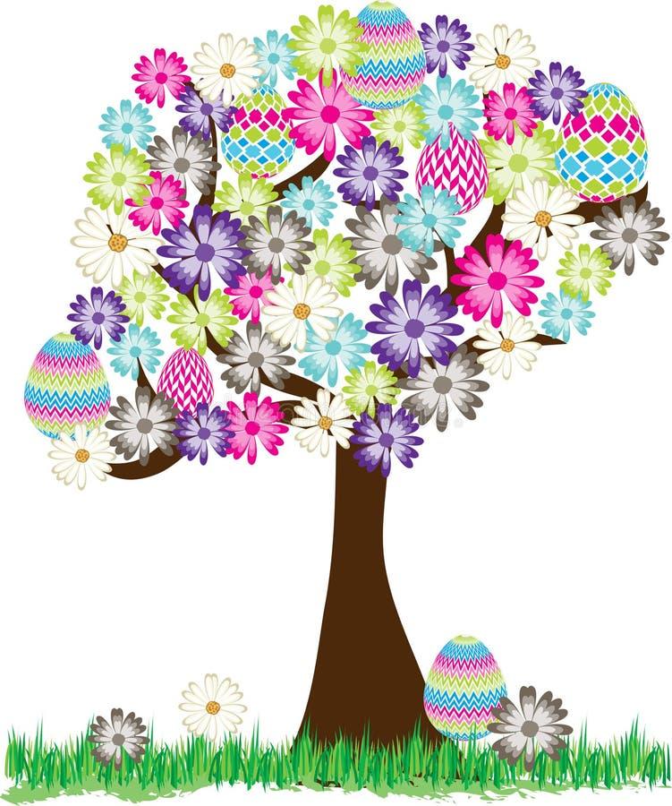 Śliczny Wielkanocnego jajka stokrotki drzewo ilustracji