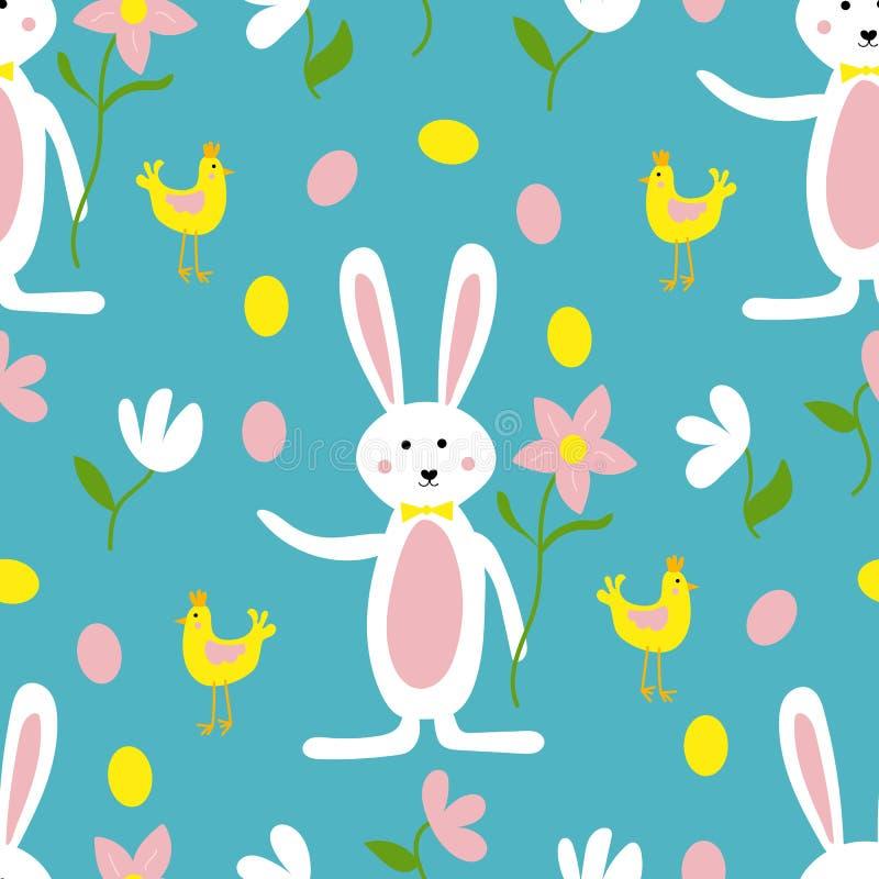 ?liczny Wielkanocny kr?lik, kwiaty i kurczaka druku Bezszwowy Deseniowy t?o, ilustracja wektor