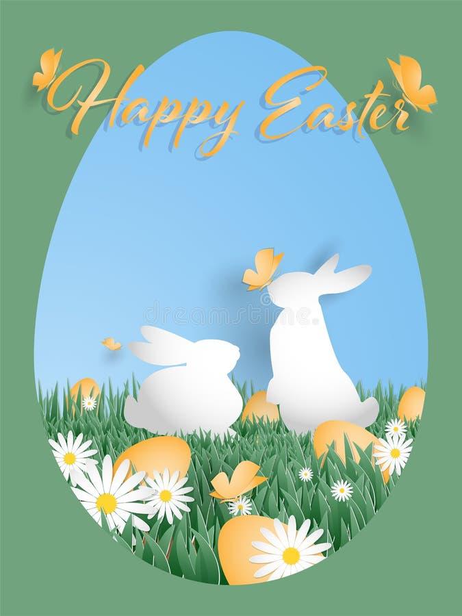 ?liczny Wielkanocny powitania t?o z Szcz??liwym Wielkanocnym tekstem royalty ilustracja