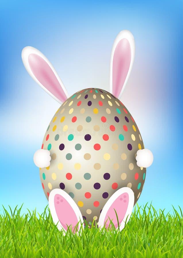 Śliczny Wielkanocny tło z królika mienia jajkiem ilustracja wektor