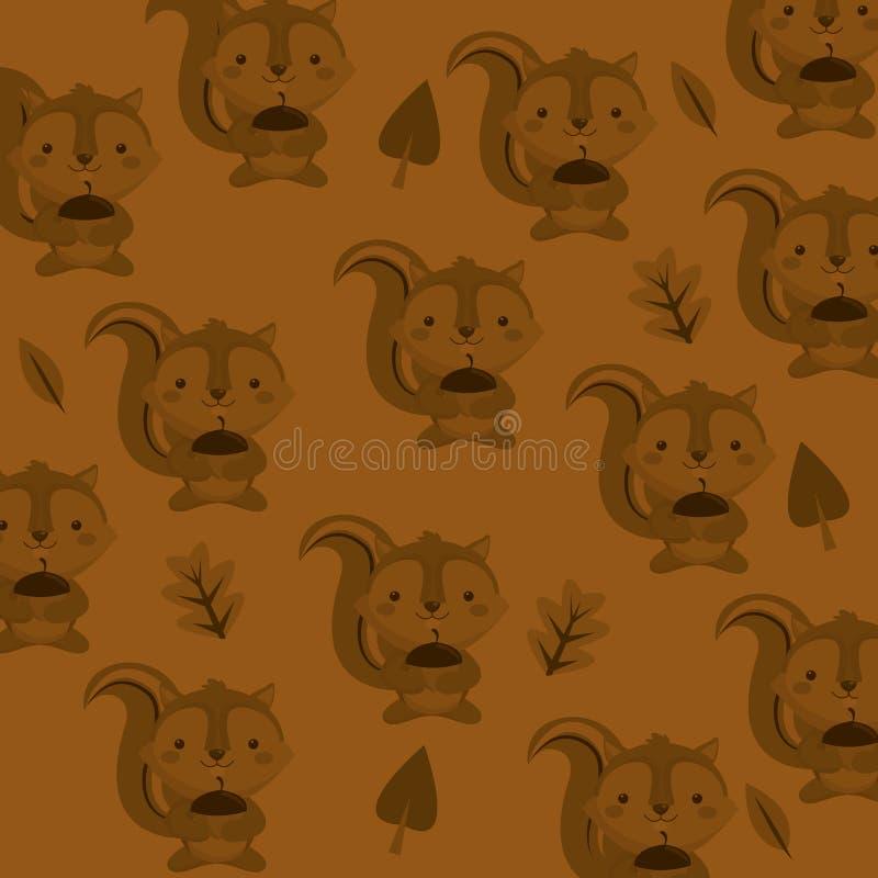 śliczny wiewiórki głowy wzoru tła wizerunek ilustracji