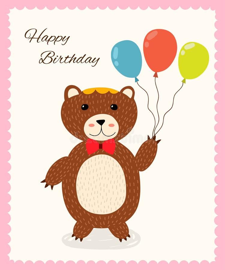 Śliczny wszystkiego najlepszego z okazji urodzin kartka z pozdrowieniami z zabawa niedźwiedziem ilustracji