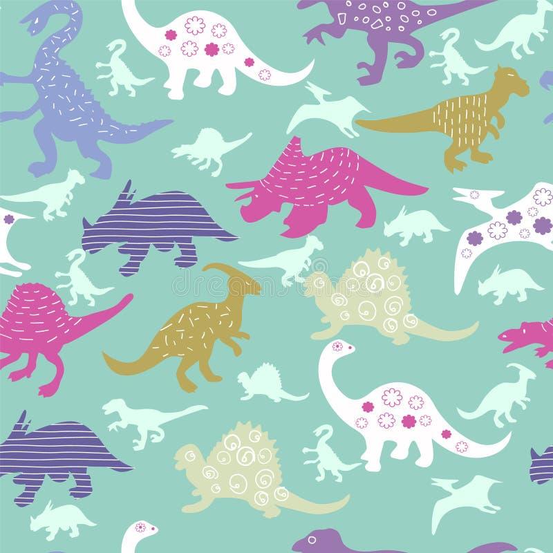 Śliczny wzór kolorowy różny dinosaur ilustracji