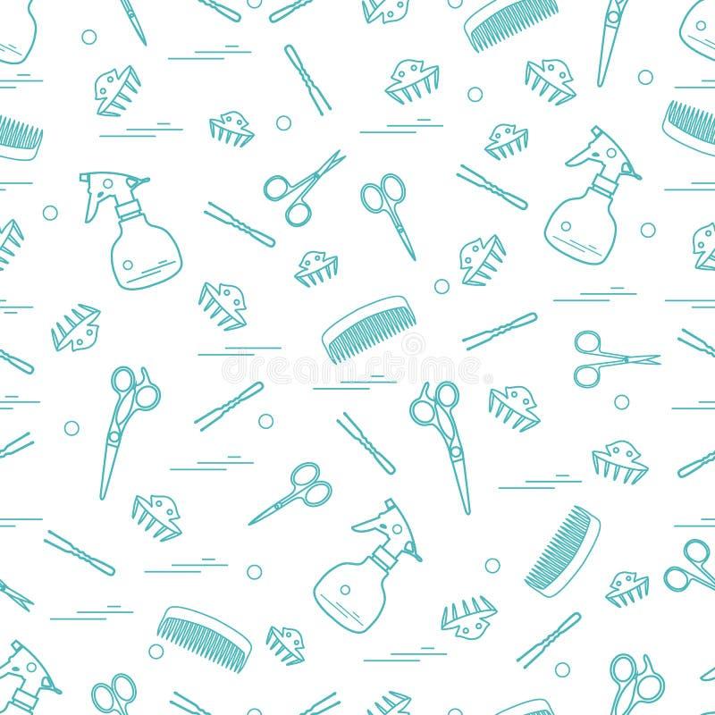 Śliczny wzór nożyce, gręple, hairclip, hairpins i natryskownica, ilustracja wektor