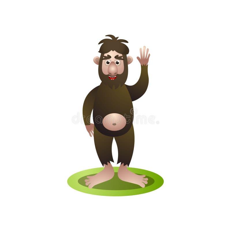 Śliczny yeti, Bigfoot mówi z ręką w górę cześć ilustracji