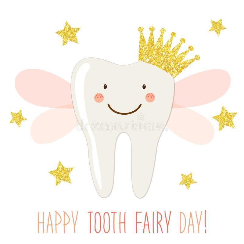 Śliczny ząb czarodziejki dnia kartka z pozdrowieniami jako śmieszny uśmiechnięty postać z kreskówki ząb czarodziejka z korony i r ilustracja wektor