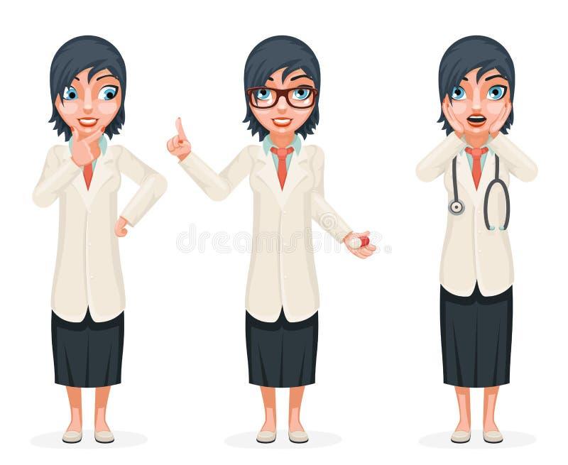 Śliczny Zdziwiony kobiety lekarki pigułki medycyny ręki podejmowanie decyzji Forefinger w górę rada postać z kreskówki - set Odiz ilustracji