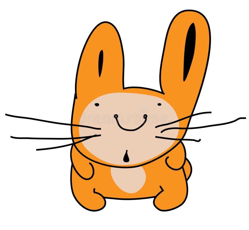 Śliczny zdziwiony zajęczy królik, śmieszny kreskówka obrazek Kolor ilustracja odizolowywająca na białym tle ilustracji