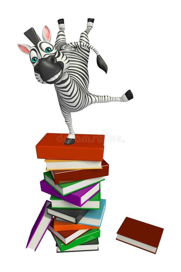 Śliczny zebry postać z kreskówki z książkową stertą ilustracji