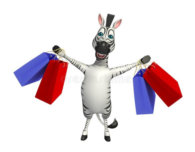 Śliczny zebry postać z kreskówki z torba na zakupy ilustracja wektor