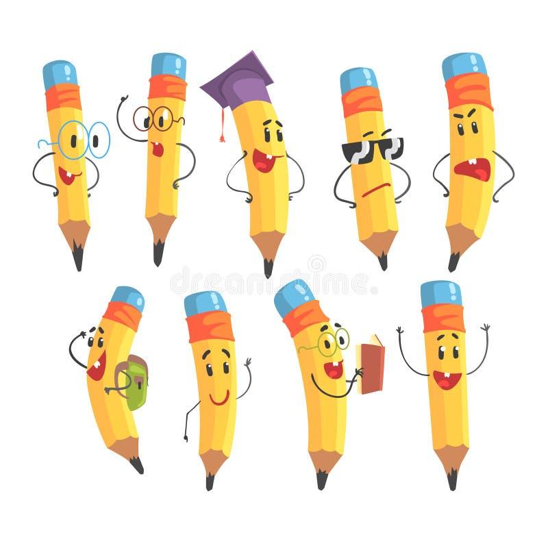 Śliczny Zhumanizowany Ołówkowy charakter Z rękami I twarzy Emoji ilustracjami Ustawiać royalty ilustracja