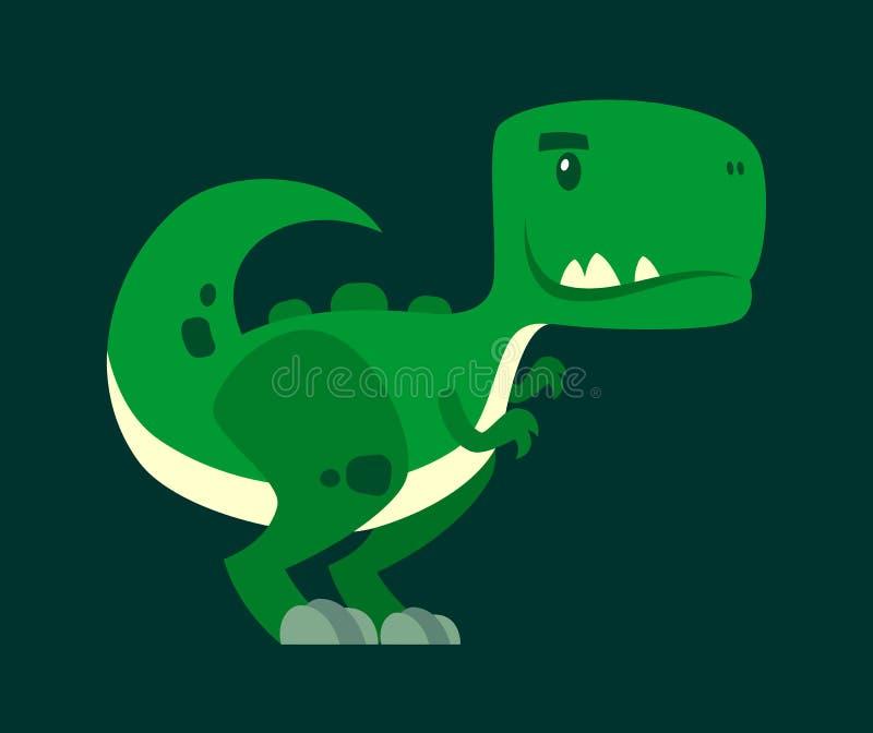 Śliczny zielony ciekawy dinosaur - postać z kreskówki ilustracji