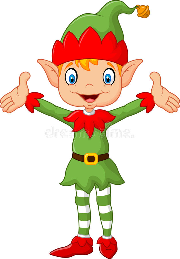 Śliczny zielony elf chłopiec kostium wręcza up pojedynczy białe tło ilustracji