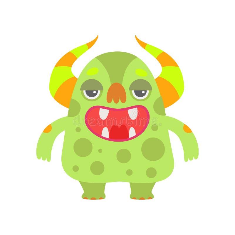 Śliczny Zielony potwór z Otwartym usta, Śmiesznej Obcej postaci z kreskówki istoty wektoru Fantastyczna ilustracja royalty ilustracja