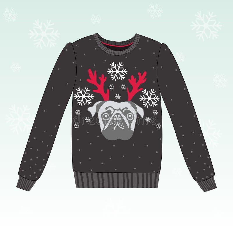 Śliczny zima pulower z psem royalty ilustracja