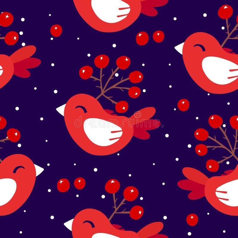 Śliczny zima wzór z czerwonymi ptakami i jagodami na ciemnym tle Ornament dla tkaniny i opakowania royalty ilustracja