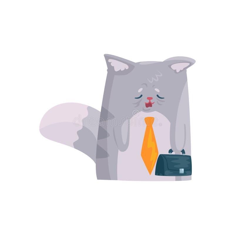 Śliczny zmęczony biznesmena kot z teczką, śmieszna zwierzęca charakter kreskówki wektoru ilustracja ilustracji