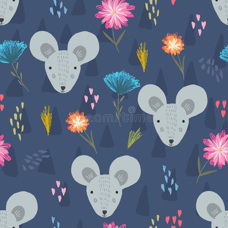 Śliczny zmrok - błękita wzór z mysz kwiatem i głowami ilustracji