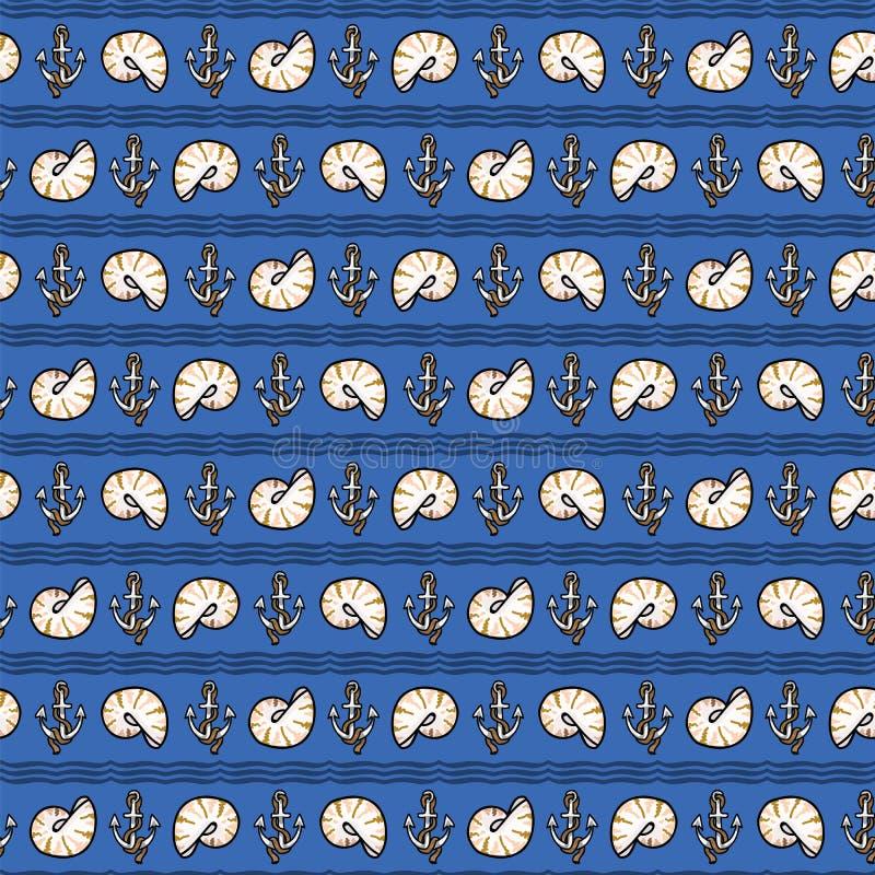 Śliczny zmrok - błękitnej dennej skorupa lampasa kreskówki wektoru bezszwowy wzór Ręka rysująca ślimakowata milczek płytka Po ca? ilustracji