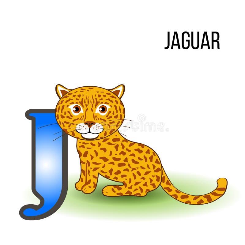 Śliczny zoo abecadło J z kreskówka jaguarem, dzikiego dzieciaka zwierzęcy wektorowy ilustracyjny kot odizolowywający na tle, eduk royalty ilustracja