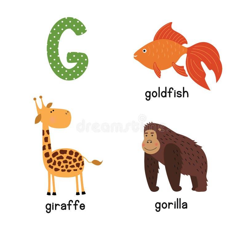 Śliczny zoo abecadło w wektorze G list Śmieszni kreskówek zwierzęta: Goldfish żyrafa, goryl ilustracji