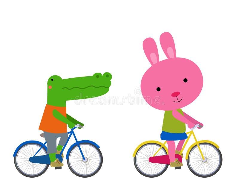Śliczny zwierząt jechać na rowerze royalty ilustracja