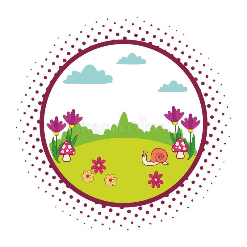 Śliczny zwierzę kreskówek round emblemat royalty ilustracja