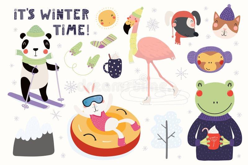 Śliczny zwierzę zimy set ilustracja wektor