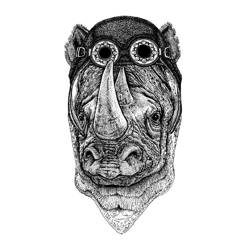 Śliczny zwierzęcy jest ubranym motocykl, lotnika hełma nosorożec, nosorożec ręka rysująca ilustracja dla tatuażu, emblemat, odzna royalty ilustracja