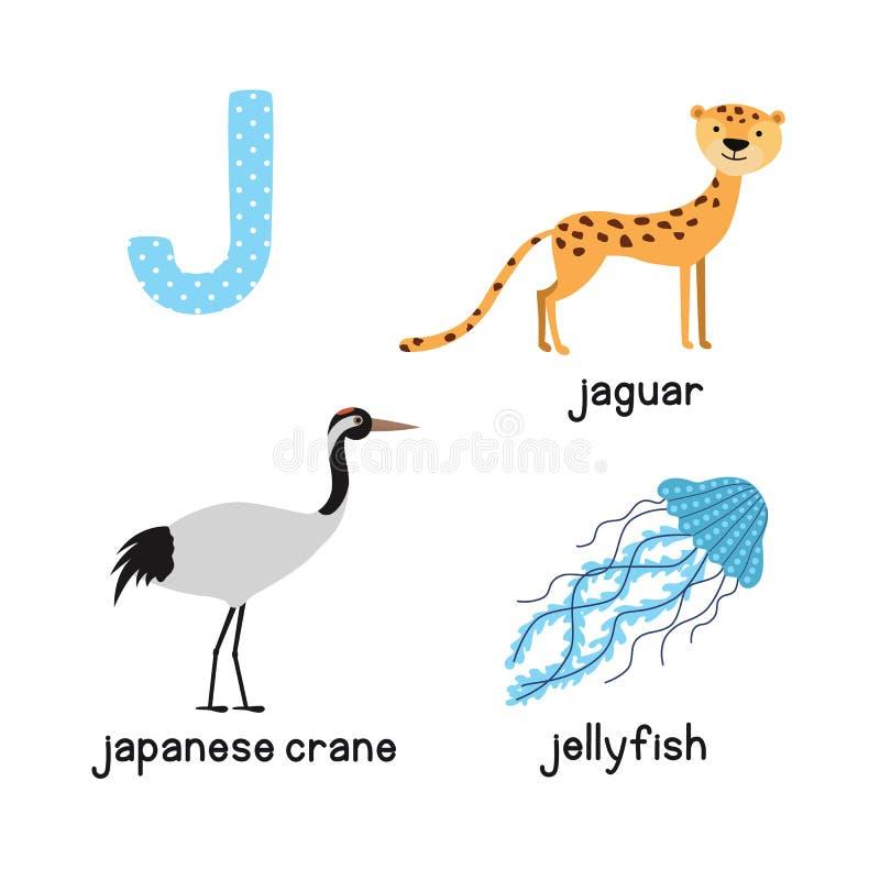Śliczny Zwierzęcy zoo abecadło Listowy J dla Jaguar, jellyfish, Japoński żuraw ilustracja wektor