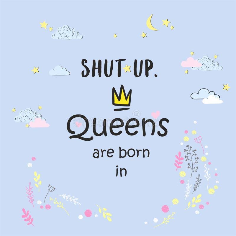 Śliczny zwrota queens jest urodzony wewnątrz z ręką rysującą koronuje i kwiaty royalty ilustracja