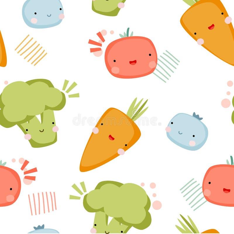 Ślicznych śmiesznych warzyw wektorowy ilustracyjny bezszwowy wzór fotografia stock