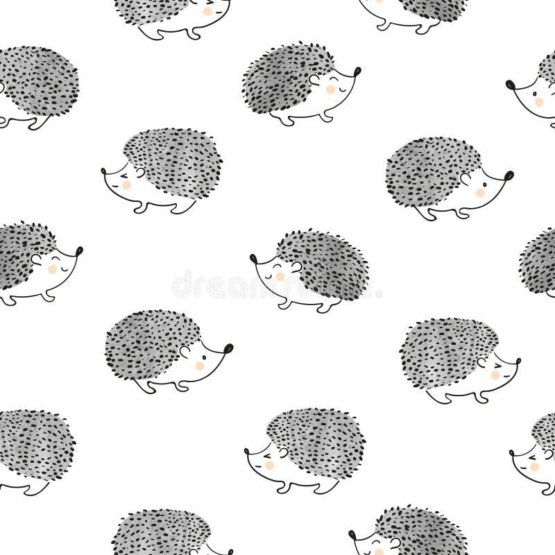 Ślicznych akwarela jeżów bezszwowy wzór ilustracji