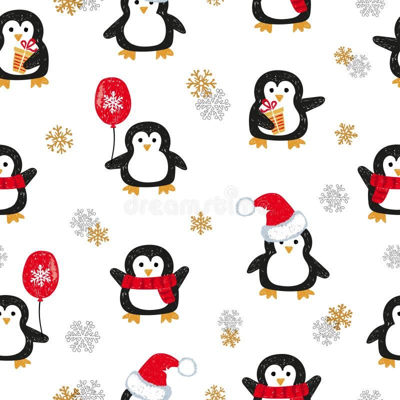 Ślicznych Bożenarodzeniowych pingwinów bezszwowy wzór ilustracja wektor