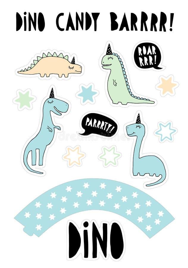 Ślicznych dinosaurów Wektorowa grafika Cukierku baru przyjęcia set Tortowy numer jeden set Ręka Rysujący błękit, mennicy Dinos z  ilustracja wektor