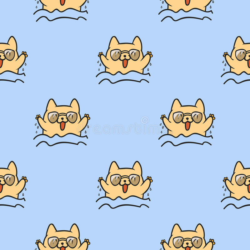 Ślicznych doodle wektorowych kotów bezszwowy wzór ilustracji