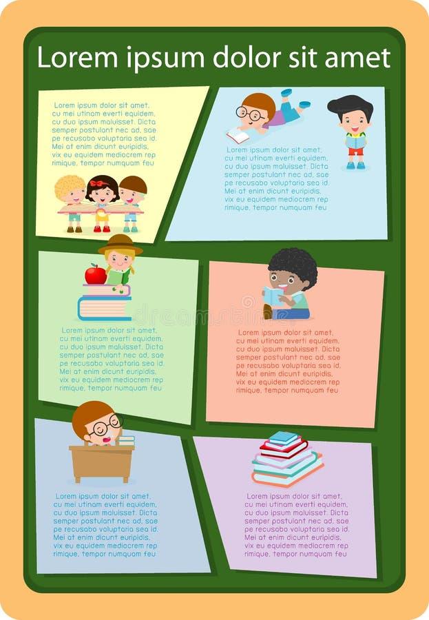 Ślicznych dzieciaków czytelnicze książki, szablon dla reklamowej broszurki, twój tekst, przygotowywający dla twój wiadomości równ ilustracji