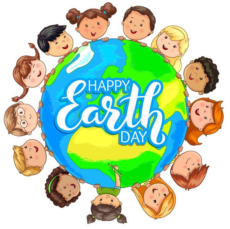 Ślicznych dzieciaków narodowości chwyta różna planeta na szczęśliwym Ziemskim dniu ilustracji