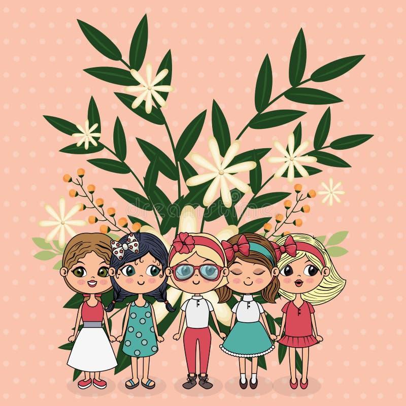 Ślicznych dziewczyn grupowi charaktery z kwiecistą dekoracją ilustracja wektor