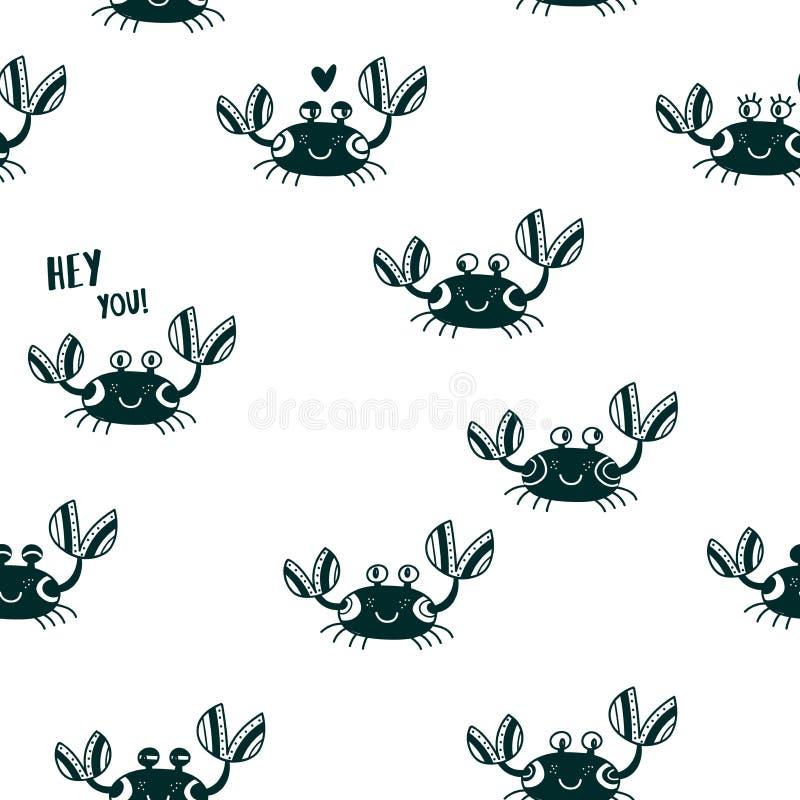 Ślicznych emocjonalnych krabów bezszwowy deseniowy czerń ilustracja wektor