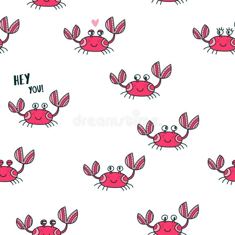 Ślicznych emocjonalnych krabów bezszwowy wzór ilustracja wektor