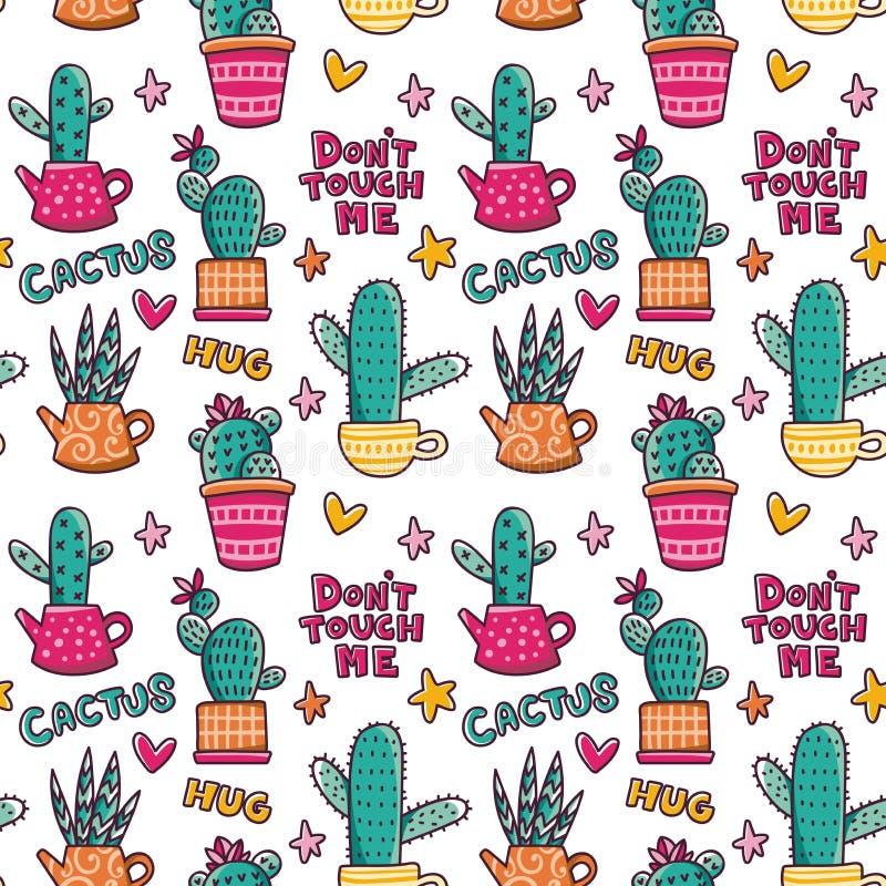 Ślicznych kaktusów wektorowy bezszwowy wzór Ręka rysujący doodle nakreślenia kaktusów tło royalty ilustracja