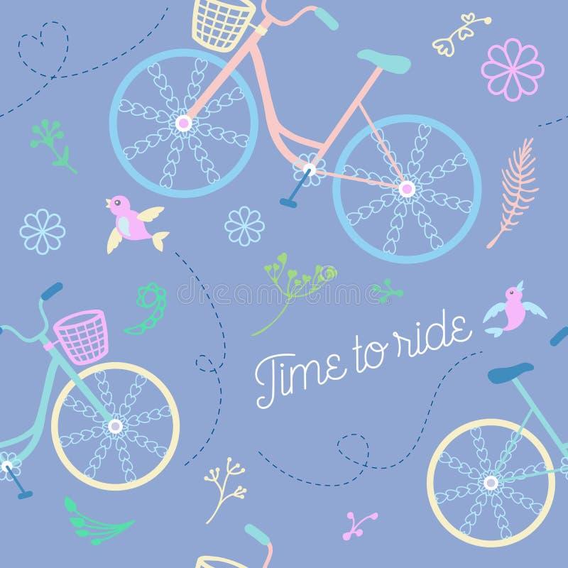 Ślicznych kolorowych pięknych bicykli/lów bezszwowy wzór z kwiatami, ptaki i dekoracyjni koła ilustracja wektor