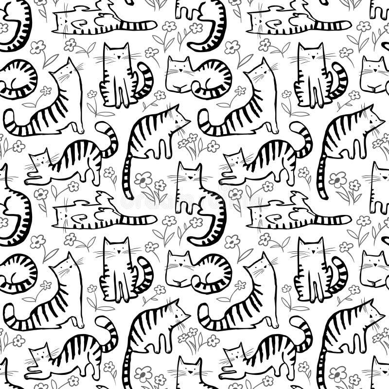 Ślicznych kotów bezszwowy wzór Tło z ręka rysującym doodle ki ilustracja wektor