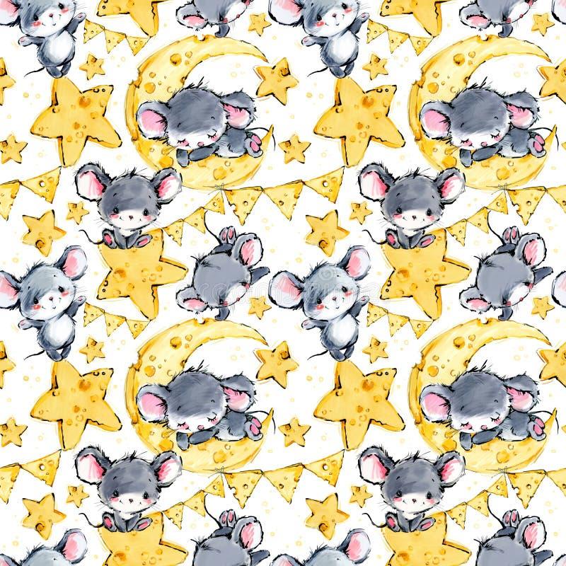 Ślicznych myszy bezszwowy tło Śmieszna kreskówki mysz ilustracja wektor