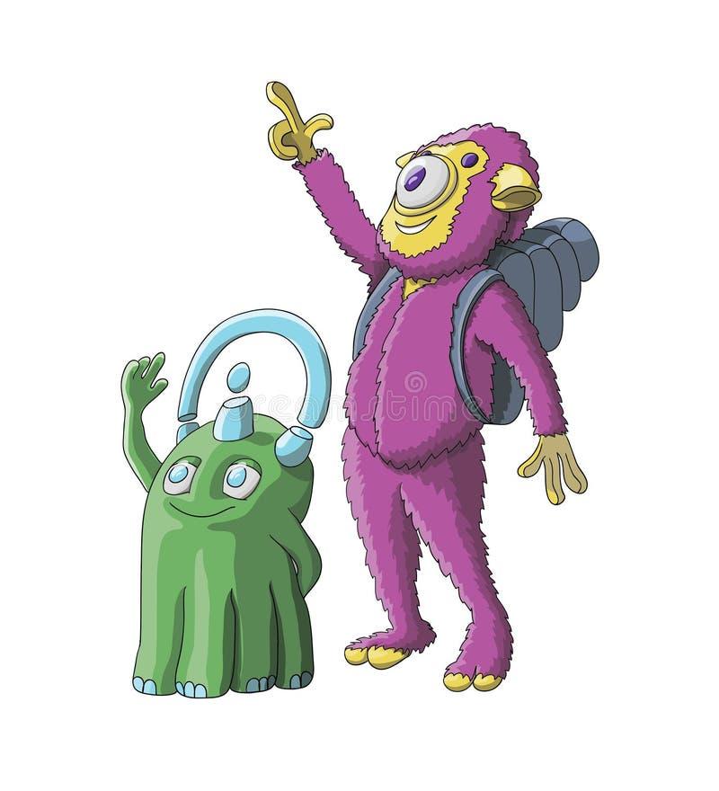 Ślicznych obcych potworów charakteru wektorowy ilustracyjny projekt royalty ilustracja